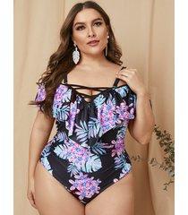 traje de baño con hombros descubiertos y estampado floral entrecruzado morado de talla grande