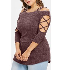 plus size three quarter sleeve ribbed knit t-shirt