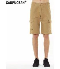 pantalones cortos gaupucean para hombre-caqui
