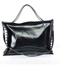 czarna duża skórzana torba shopper mia