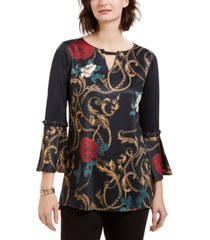 ny collection petite printed keyhole bell-sleeve top