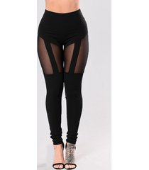 leggings sexy de patchwork de malla negra