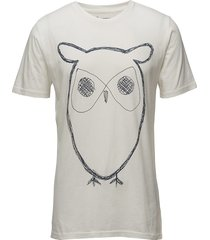 alder big owl tee - gots/vegan t-shirts short-sleeved creme knowledge cotton apparel