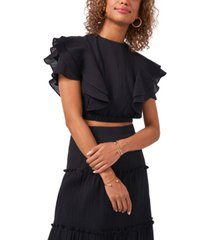 1.state cropped ruffle sleeve top