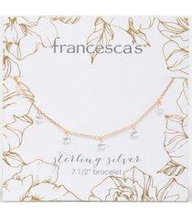 chelsea cz flower charm bracelet - gold