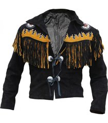 men black cow leather western cowboy jacket with fringe, mens fringe jackets