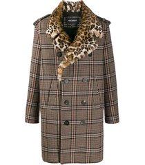neil barrett casaco xadrez com detalhe de leopardo - neutro