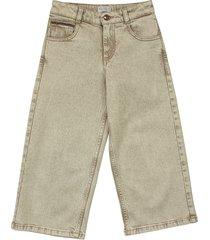 brunello cucinelli comfort cotton brown denim a-line trousers with monili
