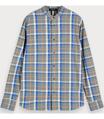 scotch & soda checked collarless shirt regular fit