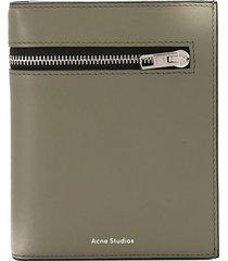 acne studios zipped detail tri-fold wallet - green