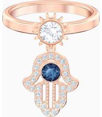 anillo con motivo swarovski symbolic, azul, baño en tono oro rosa