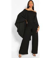 off the shoulder wide leg extreme cape jumpsuit, black