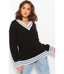 cable knit varsity sweater, black