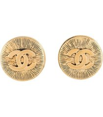 chanel pre-owned 1990s cc maxi earrings - gold