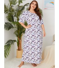 plus tamaño blanco estampado floral cuello medias mangas vestido ropa de dormir