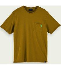 scotch & soda 100% katoenen t-shirt met korte mouwen en zak