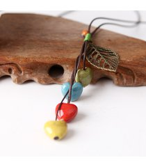 collana di perline di cera etnica ceramica cuore collana cava foglia pendente cera per le donne