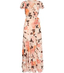 petite women's eliza j faux wrap maxi dress, size 8p - pink