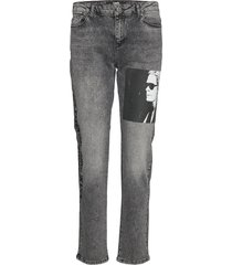 karl legend printed denim raka jeans grå karl lagerfeld