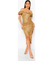 off the shoulder shimmer wrap front midaxi dress, gold