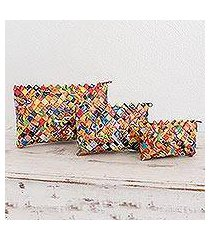 recycled metalized wrapper cosmetic bags, 'bright' (set of 3) (guatemala)