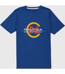camiseta azul-amarillo-rojo nautica