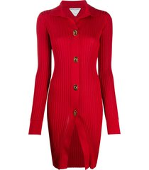 bottega veneta silk ribbed-detail cardigan - red