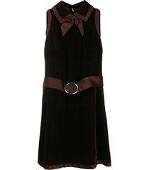 a.n.g.e.l.o. vintage cult 1960's velvet effect belted dress - brown
