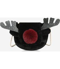 christmas glitter elk faux fur crossbody bag