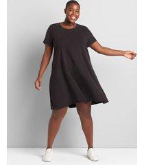 lane bryant women's livi short-sleeve swing dress - mineral wash 18/20 black
