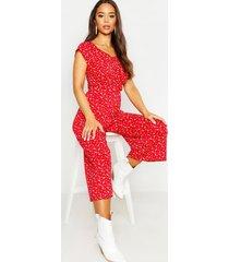 bloemenpatroon culotte jumpsuit met hartvormige hals, red