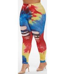 plus size high waist tie dye 3d print leggings