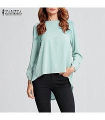 zanzea camiseta de gasa de manga larga para mujer camiseta plisada suelta blusa de túnica de talla grande -menta