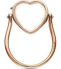 14k rose gold heart locket ring - medium 15mm