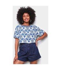 blusa farm tshirt cropped novo abacaxi tropical feminina