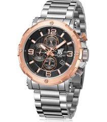 reloj de hombre t5 pulso acero h3640g-b - plateado/oro rosa