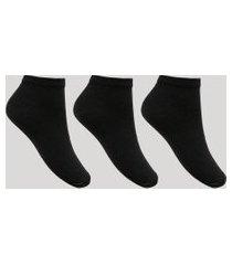 kit de 3 meias femininas cano curto preto