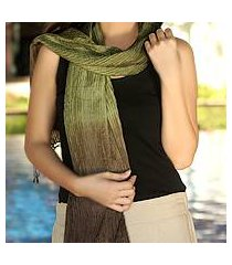 pin tuck scarf, 'olive transition' (thailand)