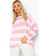 oversized gestreept shirt met lange mouwen, candy pink