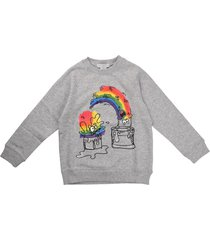 stella mccartney crew neck sweatshirt rainbow paint monster gray