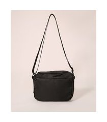bolsa de nylon transversal com bolso preta