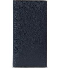 leather vertical wallet - dark blue