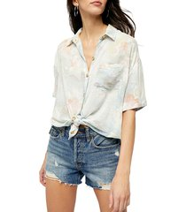 free people women's share good vibes floral shirt - navy combo - size s