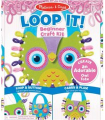 melissa doug loop it owl tote beginner craft kit - felt owl-shaped bag, 24 loops