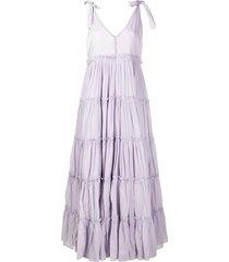 innika choo tiered flared maxi dress - purple