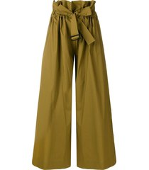 erika cavallini wide leg belted trousers - green