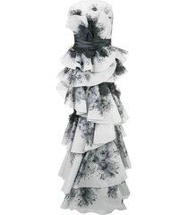 marchesa strapless tiered gown - white