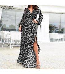 zanzea para mujer de manga larga con cuello en v estampado leopardo vestido de corte largo elástico espera maxi vestidos -negro