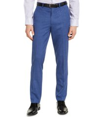 alfani men's slim-fit stretch medium blue plaid suit pants, created for macy's