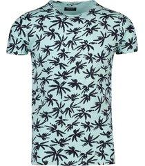 dstrezzed t-shirt ronde hals blauwe palm print